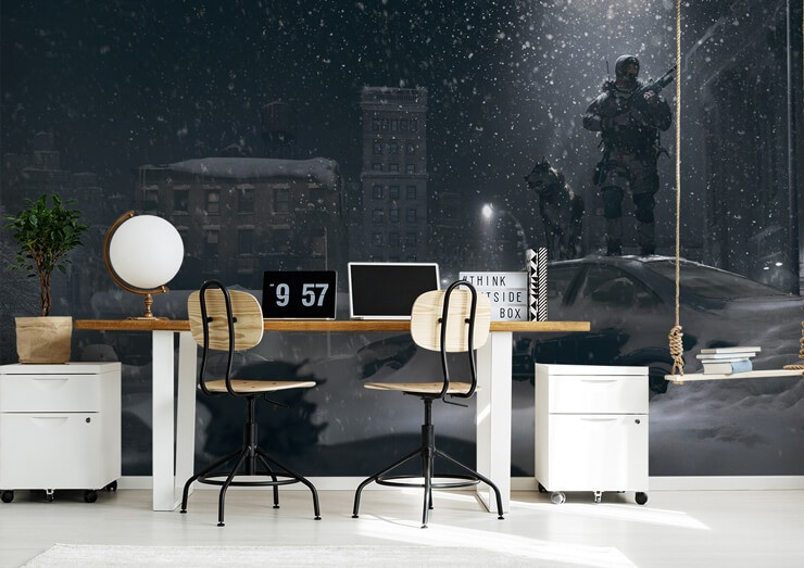 gaming scene of soldiers in snowy city wallpaper in trendy home office