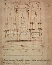 Study for a double tomb for the Medici Tombs in the New Sacristy, 1521 (pen & ink on paper) wallpaper mural thumbnail