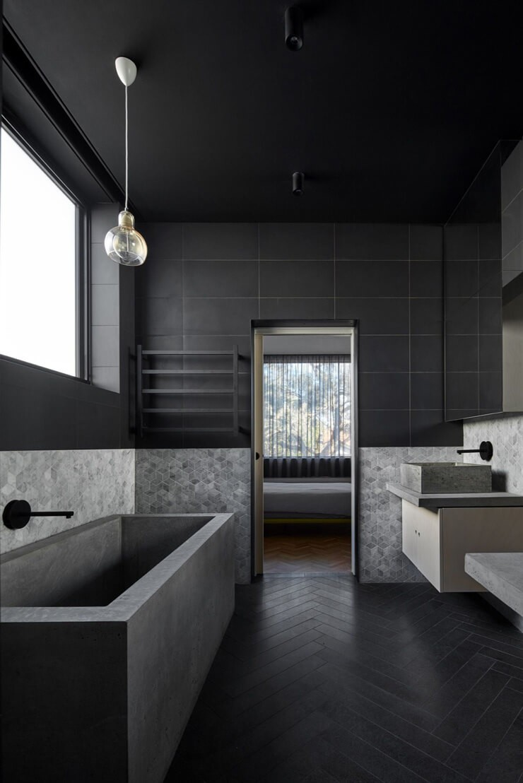 dark grey and black minimalist bathroom design