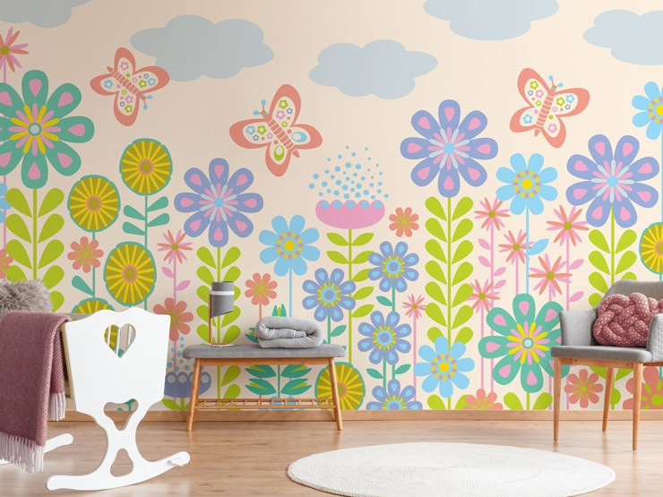 colourful nursery mural by Jackie Tahara