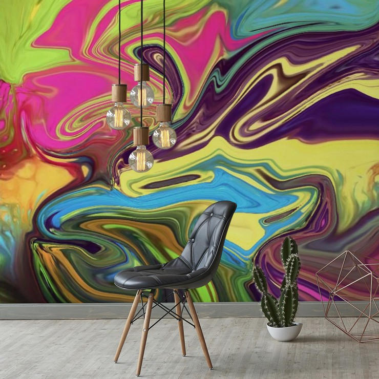 colourful geode pattern wallpaper in living room