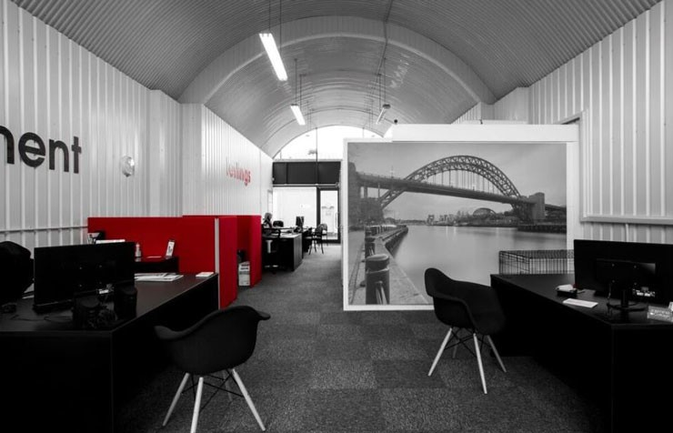 large office unit with small tyne bridge wallpaper outside office block room