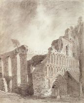 Ruin of St. Botolphs Priory, Colchester, c.1809 (chalk and pencil on paper) mural wallpaper thumbnail