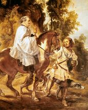 Priest carrying the eucharist to a dying person, before 1630 (oil on canvas) wall mural thumbnail