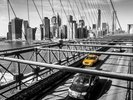 Taxi on Brooklyn Bridge wall mural thumbnail