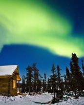 Aurora Over Cabin In The White Mountians mural wallpaper thumbnail