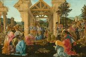 The Adoration of the Magi, c.1478-82 (tempera & oil on panel) wallpaper mural thumbnail