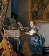 A Young Lady Seated at a Virginal, c.1670 (oil on canvas) wallpaper mural thumbnail