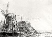 The Mill, 1641 (engraving) (b/w photo) wall mural thumbnail