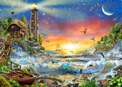 Lighthouse at Dawn wallpaper mural thumbnail