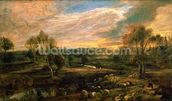 A Landscape with a Shepherd and his Flock, c.1638 (oil on oak) wall mural thumbnail