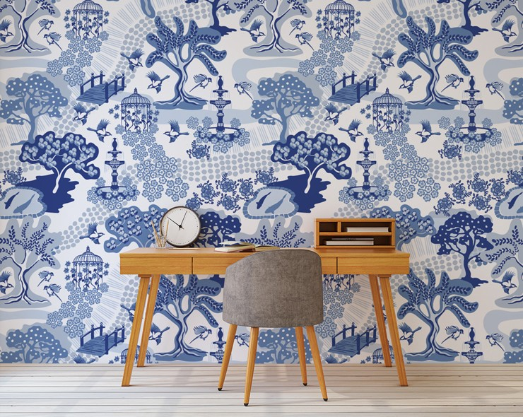 white and blue oriental wallpaper in modern office