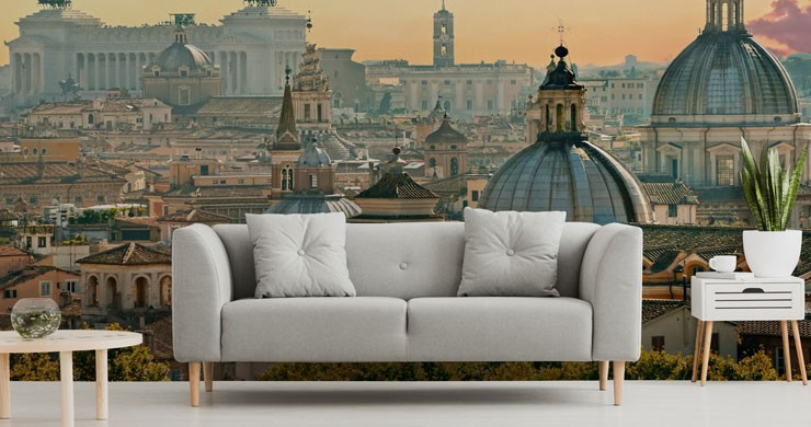 Rome landscape wallpaper in trendy grey lounge