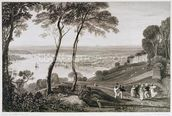 Plymouth Dock from Mount Edgecombe, from Cookes Picturesque Views of the Southern Coast of England engraved by William Bernard Cooke (1778-1855) 1814-26 (etching) wall mural thumbnail
