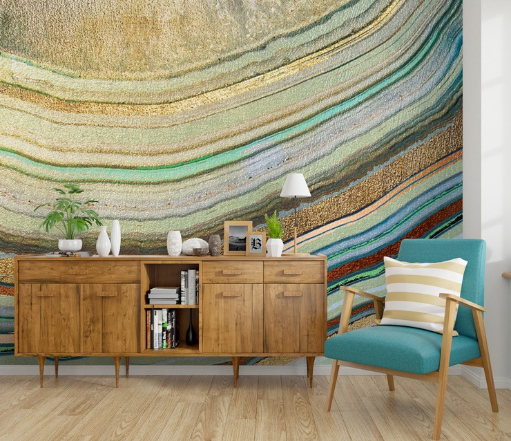 neutral agate wallpaper in mid century style lounge