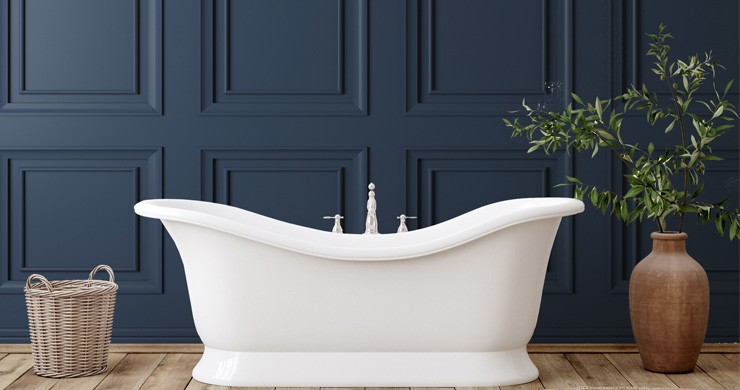 3d navy blue panel wallpaper in bathroom with free-standing white bath tub