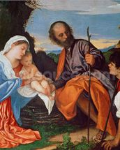 The Holy Family and a Shepherd, c.1510 (oil on canvas) wall mural thumbnail