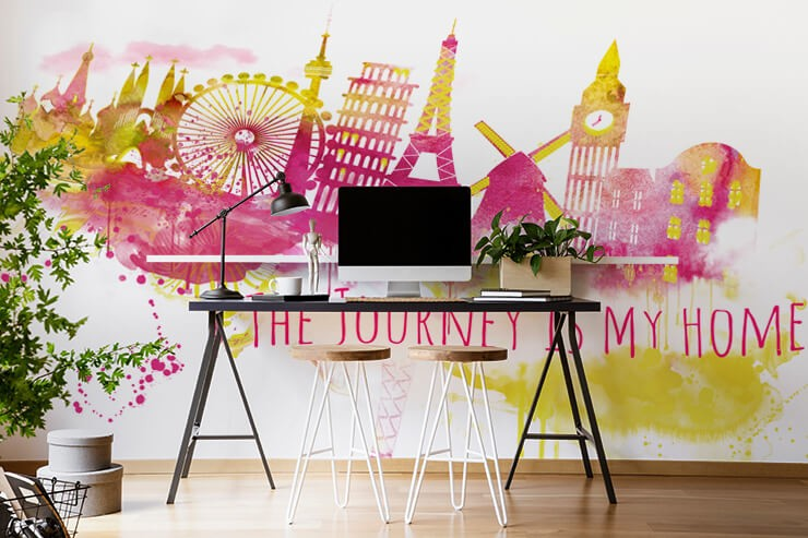 pink and yellow abstract painting of London with quote wallpaper in home office