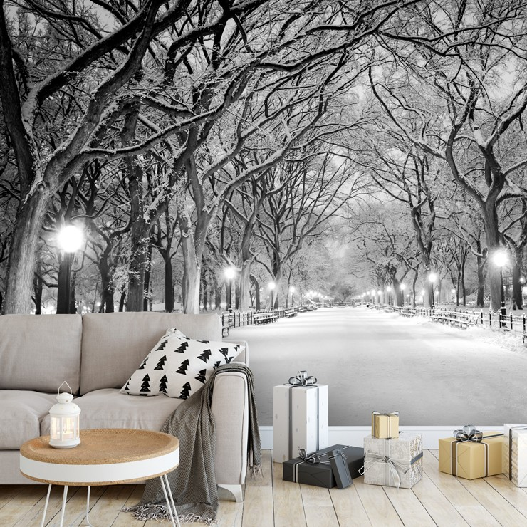 snowy mall in central park wallpaper in grey christmas lounge