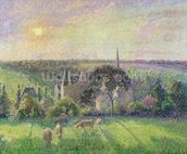 The Church and Farm of Eragny, 1895 (oil on canvas) mural wallpaper thumbnail
