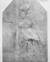 Portrait of Isabelle Helene Rubens, daughter of the artist, 1636 (pierre noire & red chalk & white highlights on brown paper) mural wallpaper thumbnail