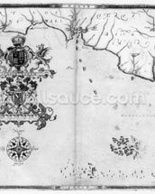 Map No.4 Showing the route of the Armada fleet, engraved by Augustine Ryther; 1588 (engraving) (b/w photo) mural wallpaper thumbnail