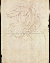 Drawing of a male standing figure (chalk on paper) mural wallpaper thumbnail