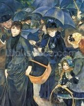The Umbrellas, c.1881-6 (oil on canvas) mural wallpaper thumbnail