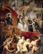 The Arrival of Marie de Medici in Marseilles, 3rd November 1600, 1621-25 (oil on canvas) wallpaper mural thumbnail