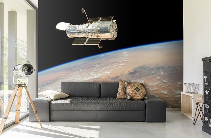 Space-wallpaper-in-living-room