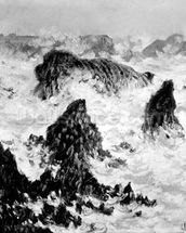 The Rocks of Belle-Ile, 1886 (oil on canvas) (b/w photo) wallpaper mural thumbnail