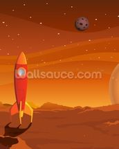 Rocket on Alien Planet wallpaper mural thumbnail