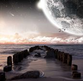 Planet landscape view from a beach wall mural thumbnail