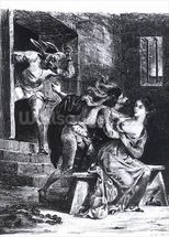 Faust rescues Marguerite from her prison, from Goethes Faust, 1828, (illustration), (b/w photo of litho) wallpaper mural thumbnail