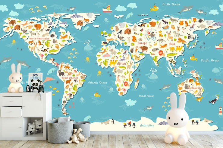 colourful world map with animals in trendy nursery