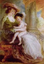 Helene Fourment (1614-73) and her son Frans (oil on panel) wall mural thumbnail