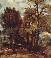 Sketch of a Lane at East Bergholt, c.1810 (oil on paper laid on canvas) wall mural thumbnail
