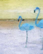 Flamingo Blue Yellow wallpaper mural thumbnail