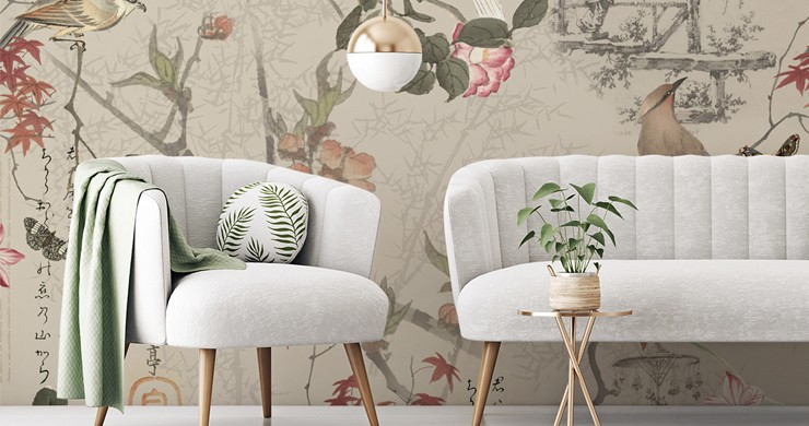 oriental natural colour chinoiserie pattern with flowers and birds in pale grey and green lounge