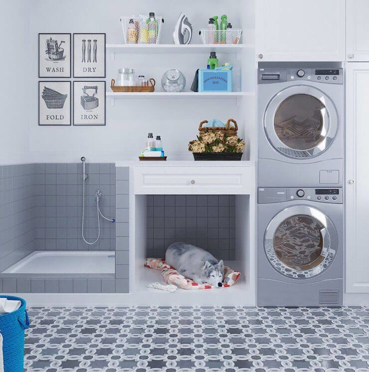 trendy grey laundry room with dog shower and dog bed