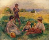 Party in the Country at Berneval, 1898 (oil on canvas) mural wallpaper thumbnail