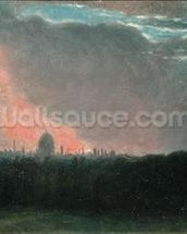 Fire in London seen from Hampstead (oil on paper laid on panel) wall mural thumbnail
