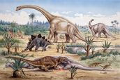 Ceratosaurus Feeding Time mural wallpaper thumbnail