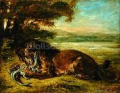 Lion and Alligator, 1863 (oil on panel) wall mural thumbnail