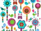 Colourful Flowers wall mural thumbnail
