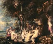 Nymphs and Satyrs, c.1635 (oil on canvas) wallpaper mural thumbnail