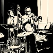 Jazz Black & White mural wallpaper thumbnail
