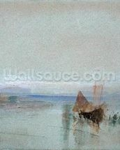 Fishing Boats Becalmed off Le Havre (w/c & bodycolour on blue paper) mural wallpaper thumbnail