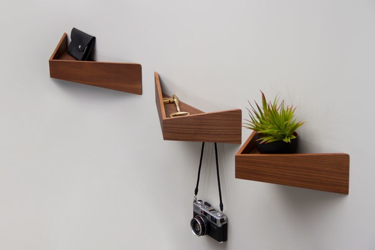 triangular wooden wall shelves