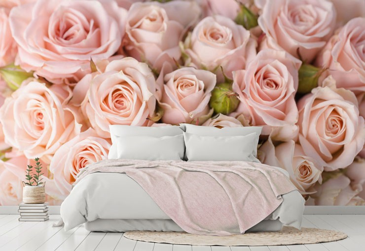 pastel pink roses photo wallpaper in white and pink master bedroom